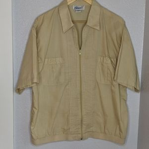 Haband light tan zip up short sleeve shirt jacket